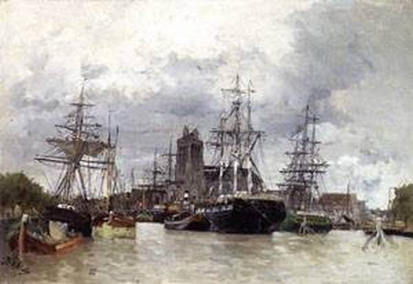 Dordrecht Harbor with Shipping and Cathedral
